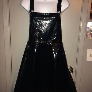 *BLACK WET-LOOK OVERALL DRESS/JUMPER,NEW W/ TAGS